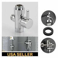 Chrome 3 way G'1/2 T adapter T valve Diverter Water Separator For Shower Head US