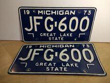 1973 Michigan Passenger Car License Plates - Set of 2 - JFG-600