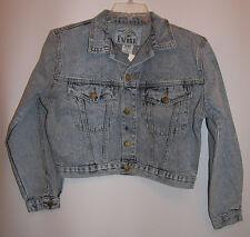 Short Denim Jacket Women S Small Stone Washed Stretch Light Blue NWT Encore USA