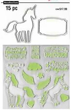 RECOLLECTIONS Stamp & Die set Enchanting UNICORN SENTIMENTS Magical Stars Hearts