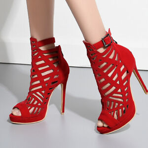 Women Gladiator Peep Toe High Stiletto Heels Sexy Party Hollow Out Sandals Shoes