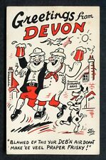 c1950s Comic/ Cartoon: Greetings from Devon: 2 Men Drinking & Dog: Scumpy Arms