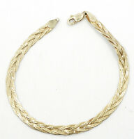 14K Yellow Gold 7 Inch 4mm Braided Textured Bracelet A391
