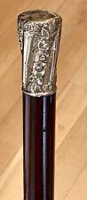 """Vintage Antique 19C Walking Stick Cane Gold Filled Handle Hardwood Shaft Old 33"""""""