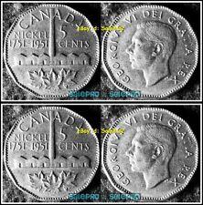 2x CANADA 1951 CANADIAN SUDBURY REFINERY NICKEL GEORGE VI 5 CENT COIN LOT