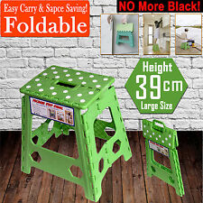 39cm Folding Step Stool Kitchen Garage Foldable Carry Storage Fishing Chair GrEn