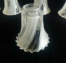"5  Vanity Chandelier Ceiling Fan Lights Frosted Clear Swirled Glass 5"" Shades"
