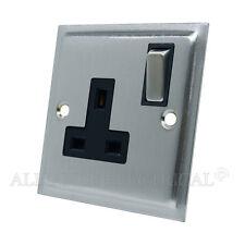 Slimline Satin Brushed Matt Chrome Socket 1 Gang - 13Amp Single Plug Outlet