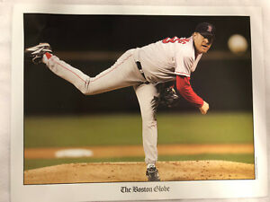 "Boston Red Sox Curt Schilling The Boston Globe 8 1/2"" x 11"" Photo"