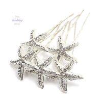 Beach Wedding Silver Starfish Hair Pins Grips Clips HP25