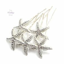 Beach Wedding Silver Starfish Hair Pins Grips Clips HP25