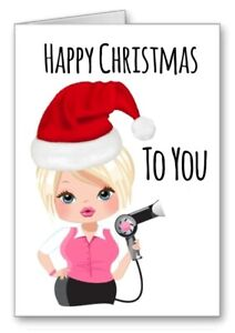 Hairdresser Happy Christmas Card Stylist Girl Blonde Hair