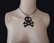 CHERRY LOCO SKULL AND CROSSBONES ACRYLIC NECKLACE. DANGER. PIRATE. POISON.
