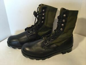 Men's Olive Jungle Boots Military Type Canvas Leather Rubber Sole Size 9 EE New