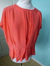 Reiss oversized orange peach silk top blouse size 10
