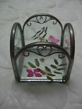 """Vintage Glass Candle Holder (Pewter Trim & Dried Flowers) (3"""" H x 3"""" D x 3"""" W)"""