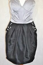 LIPSY Size 10 Platinum Black Strapless Boned Bandeau Jewelled Dress *CLEAN VGC