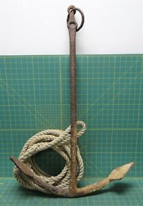 """Vintage Cast Forged Iron Boat Ship Yacht Anchor 34""""L x22""""W, 14.5lbs w/20' Rope"""