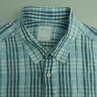Billy Reid Button Up Shirt Mens XL Blue Standard Cut Linen Plaid Chest Pockets