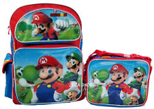 """Super Mario Bros. 16"""" School Large Backpack & Lunch Bag 2 pc set New!"""