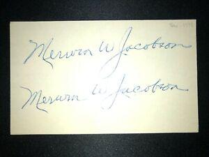 1915 GIANTS: Merwin Jacobson, SIGNED 3x5 (BSJ), D.1978