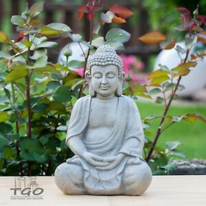 Buddha Figur sitzend aus Magnesia grau Höhe 31cm Feng Shui Statue