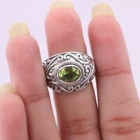Handmade 925 Solid Sterling Silver Jewelry Peridot Solitaire Ring Size 7