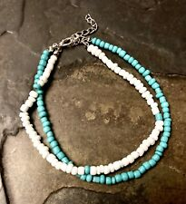 New Turquoise White Multi Layer Beaded Summer Anklet Bracelet USA