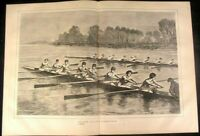 Oxford against Cambridge Annual Boat Race 1870 antique wood engraved print