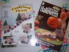 Plastic Canvas 2 Leaflet Book Lot Candyland Train Peek-a-Boo Halloween Christmas