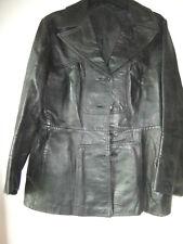 black 70s leather jacket sz 16