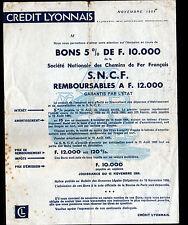 """BANQUE """"CREDIT LYONNAIS"""" / CHEMINS DE FER FRANCAIS Souscription illustrée TRAIN"""
