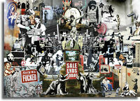 Banksy Collage CANVAS WALL ART PICTURE 20X30 INCHES