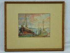 """(B215) Aquarell """"Fischerboote am Bodden"""" signiert Thuro Balzer 1953"""