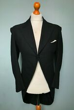 (0110) Vintage bespoke 1950's black morning tails tailcoat size 38