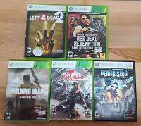 XBox 360 Zombie Game Lot Dead Island Red Dead Left 4 Dead 2 Walking Dead Rising