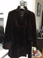 REAL Sheared Mink Fur Coat Chocolate Brown WITH SCALLOP DETAILING  LIGHT & SCARF