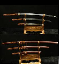 1095 CARBON STEEL  FORGED JAPANESE SAMURAI SWORD SET ( KATANA + WAKIZASHI +TANTO