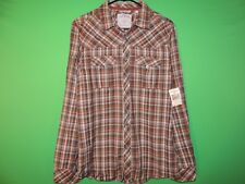 GUESS Mens Size S Small Olive Brigade Plaid Pocket Long Slv Button Shirt NEW