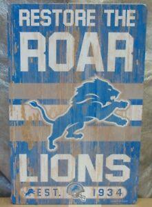 "DETROIT LIONS RESTORE THE ROAR EST. 1934 WOOD SIGN 11""X17'' NEW WINCRAFT 👀🏈"