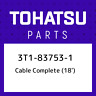 3T1-83753-1 Tohatsu Cable complete (18') 3T1837531, New Genuine OEM Part