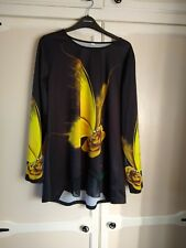 Lovely long sleeve women's black top with bright yellow butterfly design ~ UK 14