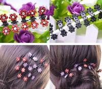 Wholesale 6pcs Girls Sweet Crystal Rhinestone Flower Mini Hair Claws Clips Clamp