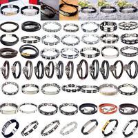 Männer Damen Armband Edelstahl Geflochten Bracelet Leather Armreif Armkette