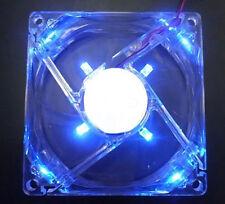 Blue Quad 4-LED Light Neon Quite Clear 80mm PC Computer Case Cooling Fan Mod -