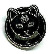 Cat Pentacle Badge Metal Enamel Witch Occult Witchcraft Wiccan Pin Badge UK