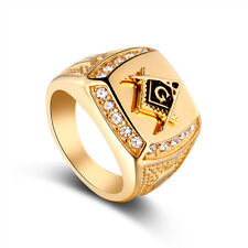 Edelstahl Ring 750 Echt Gold Vergoldet Herren Ring mit Strass Steinen Gr.20 Neu