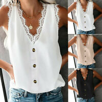 Women V-Neck Lace Casual Button Loose Sleeveless Shirts Tank Vest Tops Blouse UK
