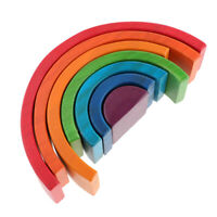 Wooden Educational Rainbow Blocks Nesting Stacking Toys for Kids Toddlers