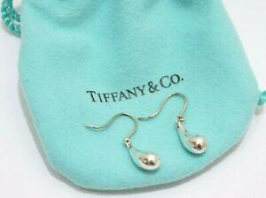 Tiffany & Co. Sterling Silver Elsa Peretti Teardrop Dangle Drop Hook Earrings